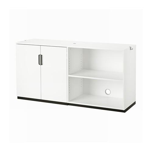 Galant storage combination white ikea for Meuble bas portes coulissantes