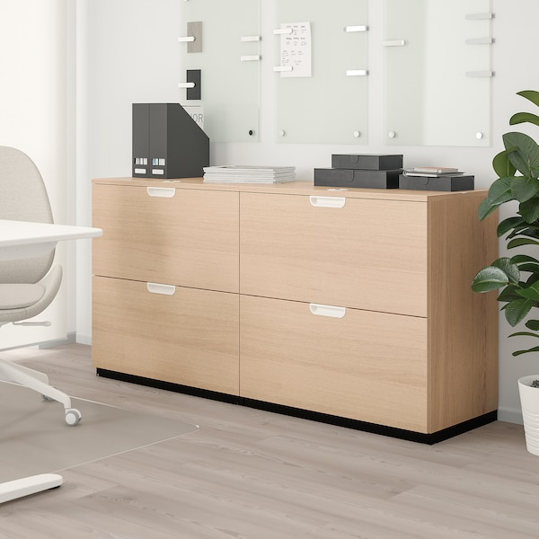 """GALANT Storage combination with filing, white stained oak, 63x31 1/2 """""""