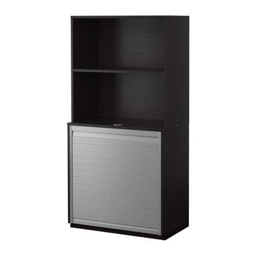 Ikea Gardinen Deckenbefestigung ~ Storage combination with roll front, black brown black brown