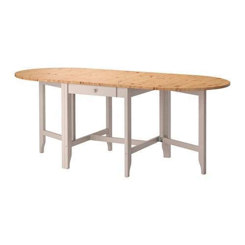 GAMLEBY Gateleg table, light antique stain, gray