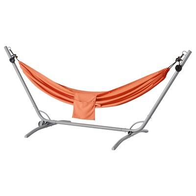 """GÅRÖ / RISÖ hammock with stand gray/pale orange 118 1/2 """" 59 """" 50 3/4 """" 265 lb"""