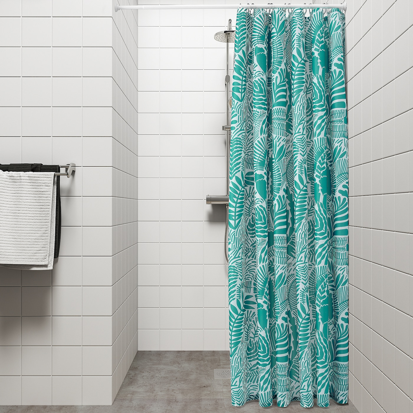 Shower Curtain Turquoise White 71x71