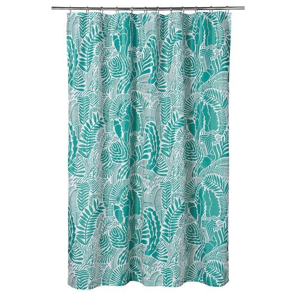 GATKAMOMILL Shower curtain, turquoise/white, 71x71 ""