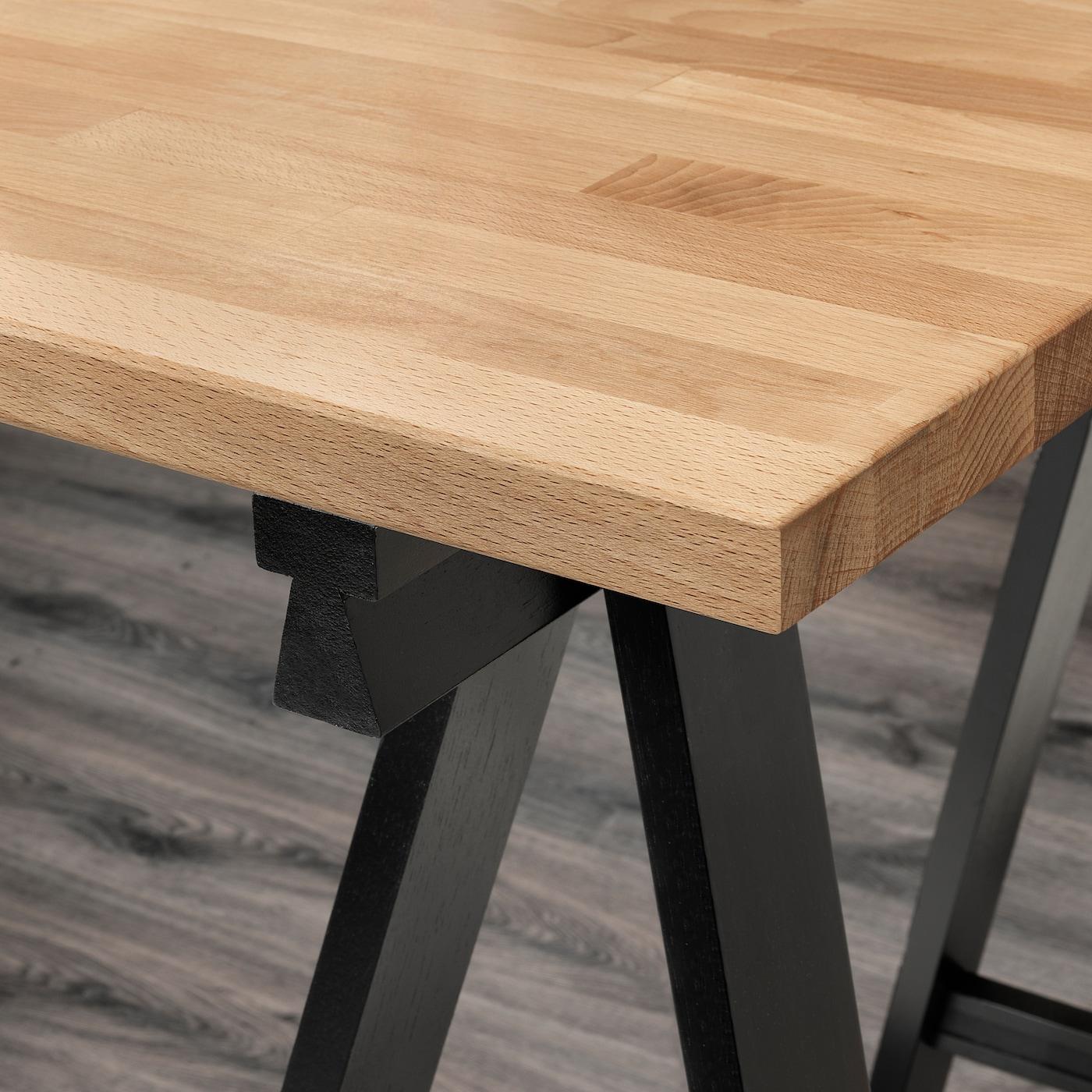 "GERTON Table - beech/black white 5x5 5/5 """