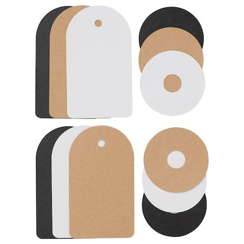 GIVANDE gift tag, set of 12 black natural/white