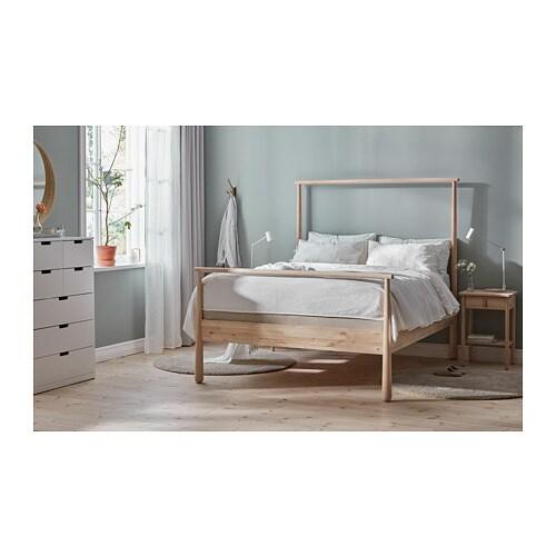 """GJÖRA bed frame birch/Espevär 83 7/8 """" 65 3/8 """" 38 1/4 """" 68 7/8 """" 79 1/2 """" 59 7/8 """""""