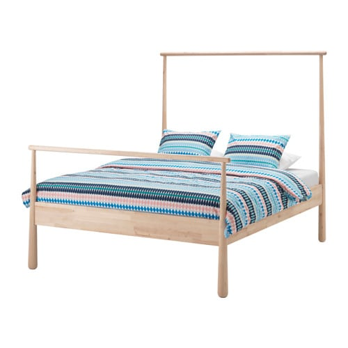 Gj ra bed frame queen l nset slatted bed base ikea - Ikea tete de lit bois ...
