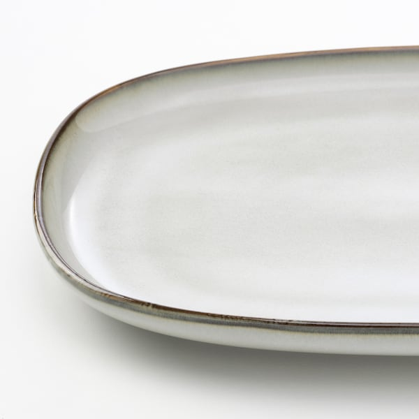 GLADELIG Plate, gray, 12x7 ½ ""