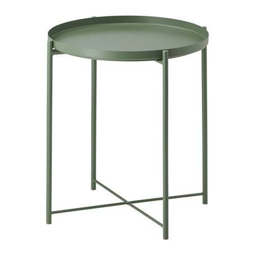 Gladom tray table dark green ikea for Ikea green side table