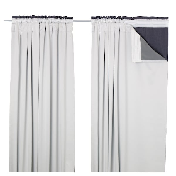 GLANSNÄVA Curtain liners, 1 pair, light gray, 56x114 ""