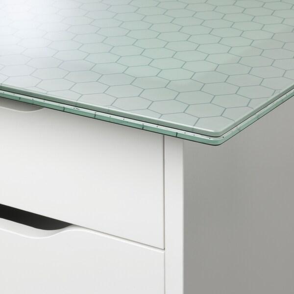 "GLASHOLM / ALEX table glass/honeycomb pattern white 58 1/4 "" 28 3/4 "" 28 "" 110 lb 4 oz"