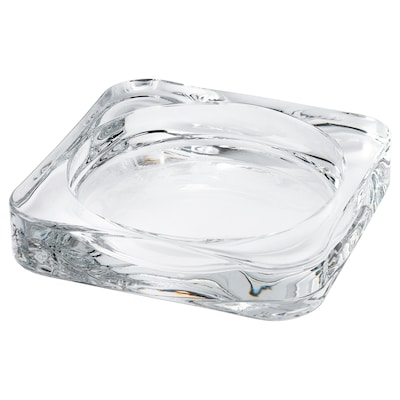 GLASIG Candle dish, clear glass, 4x4 ""