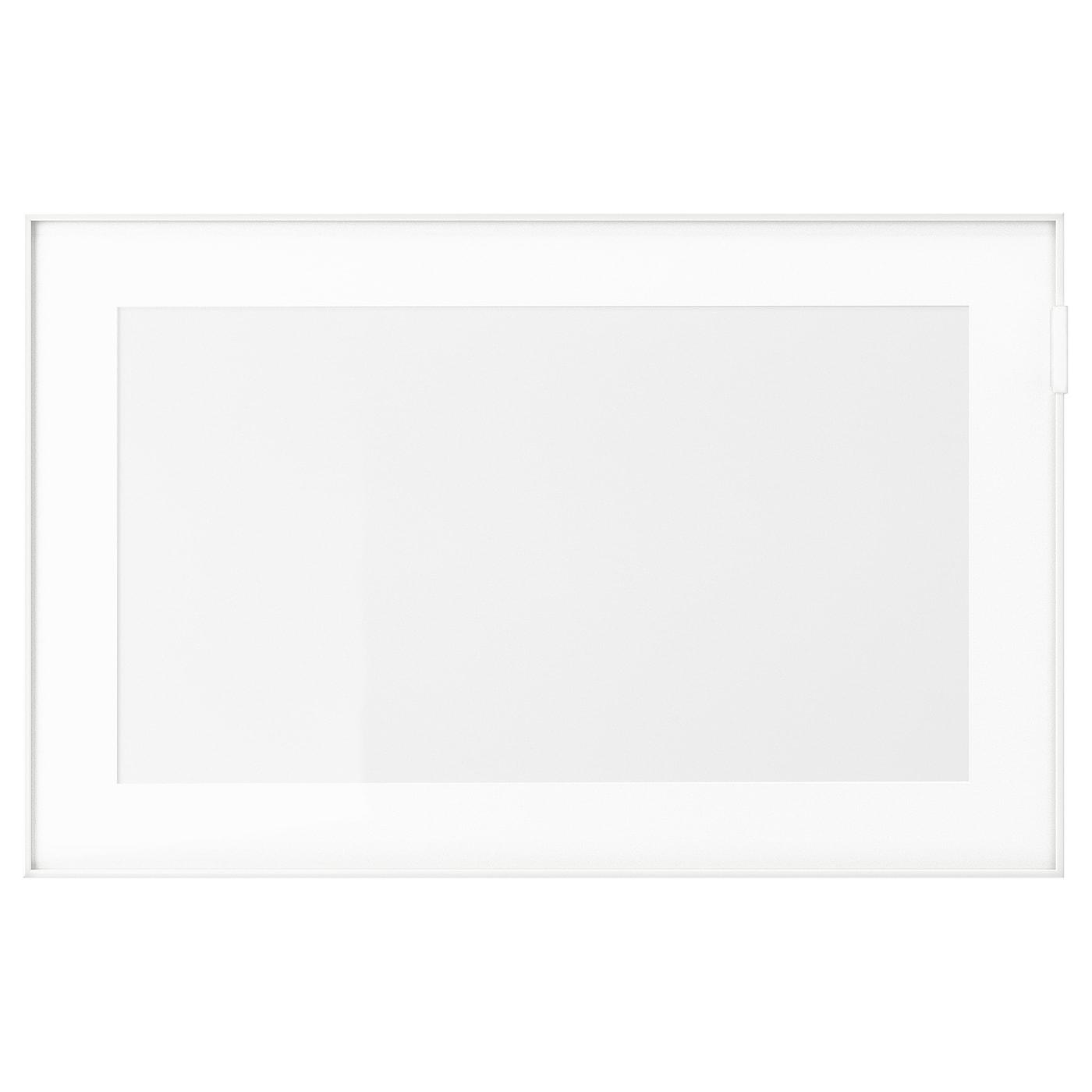 GLASSVIK - Glass door, black, smoked glass