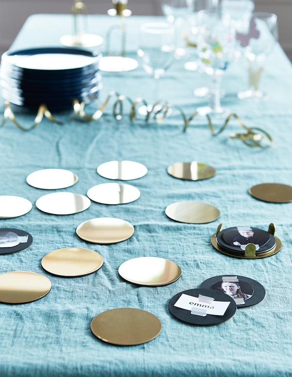 "GLATTIS Coasters with holder, brass color, 3 """