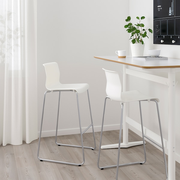 GLENN Bar stool, white/chrome plated, 30 3/8 ""
