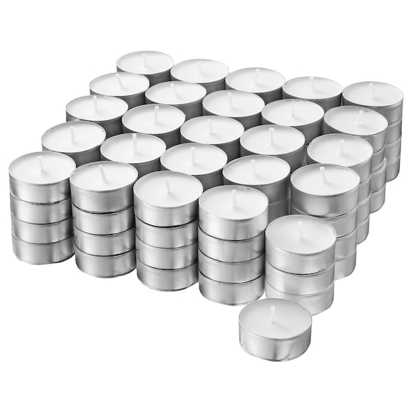 """GLIMMA unscented tealights 1 ½ """" 4 hr 100 pack"""