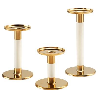 GLITTRIG candlestick, set of 3 ivory/gold