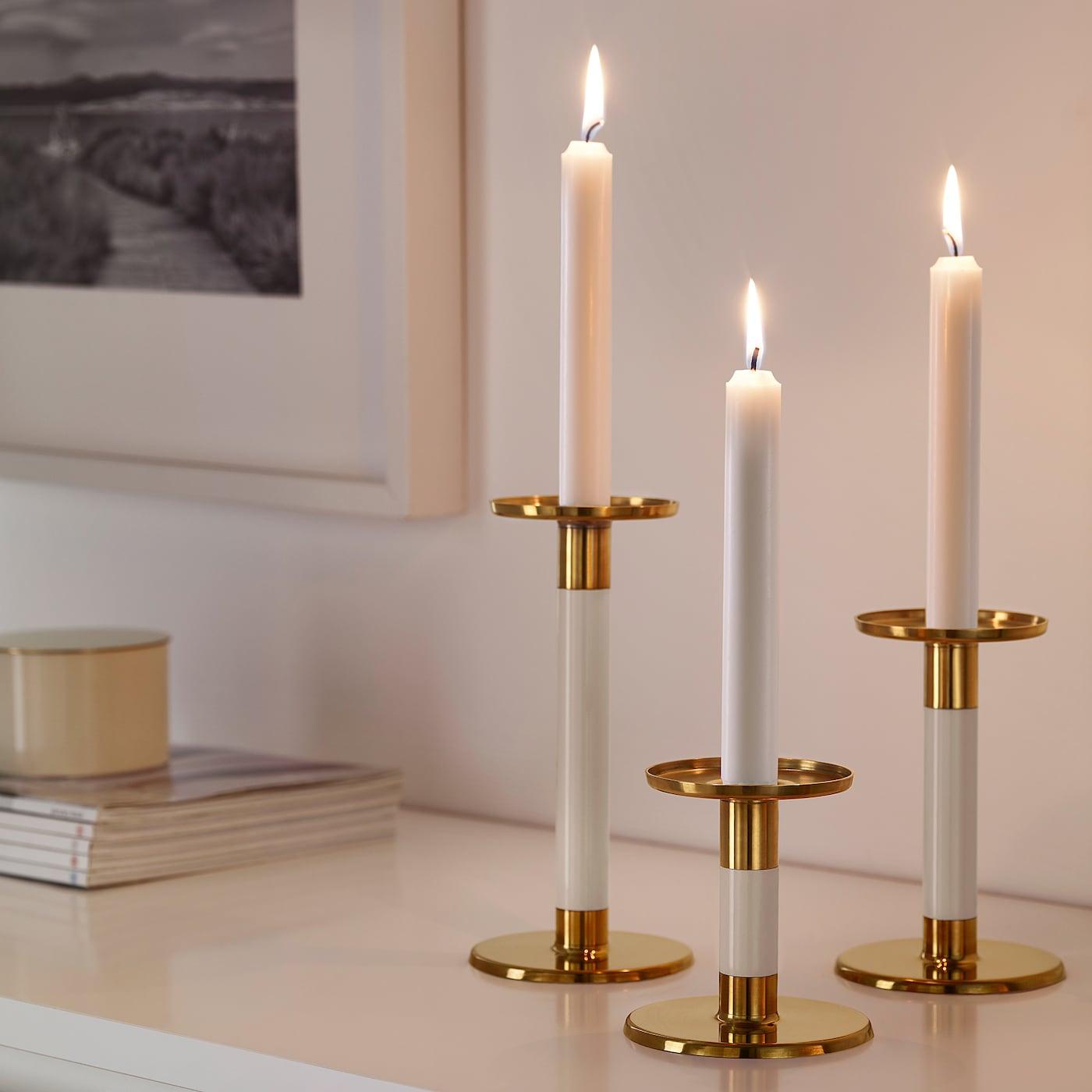Glittrig Candlestick Set Of 3 Ivory Gold Ikea