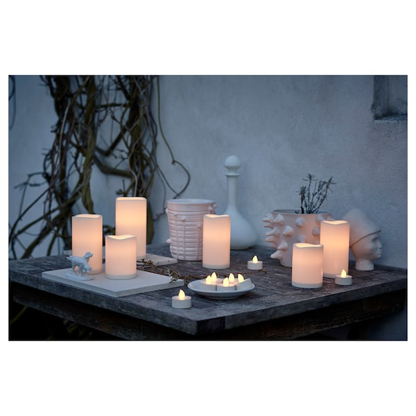 """GODAFTON LED block candle, indoor/outdoor battery operated/natural 6 """" 3 """""""