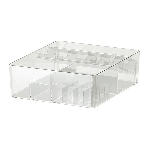 GODMORGON Box with compartments, clear clear 12 ½x11x4