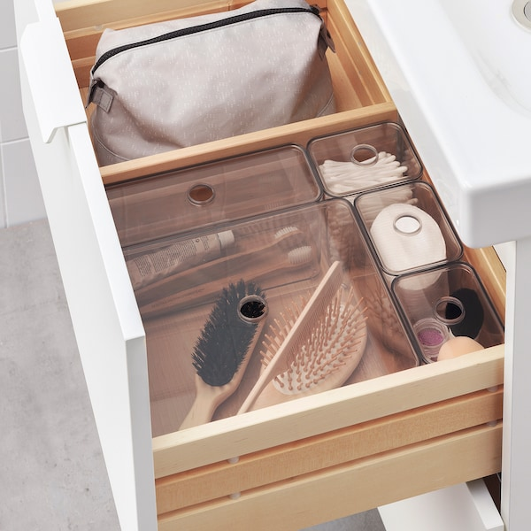 "GODMORGON Box with lid, set of 5, smoked, 9 ½x7 ¾x4 """