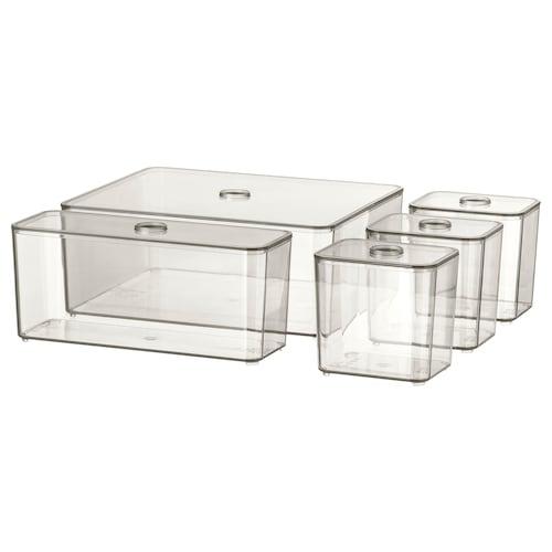 "GODMORGON box with lid, set of 5 smoked 9 ½ "" 7 ¾ "" 4 """
