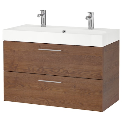 """GODMORGON / BRÅVIKEN Sink cabinet with 2 drawers, brown stained ash effect/Brogrund faucet, 39 3/8x18 7/8x26 3/4 """""""
