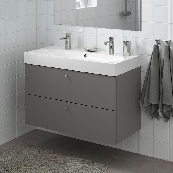 "GODMORGON / BRÅVIKEN Sink cabinet with 2 drawers, Gillburen dark gray/Brogrund faucet, 39 3/8x18 7/8x26 3/4 """