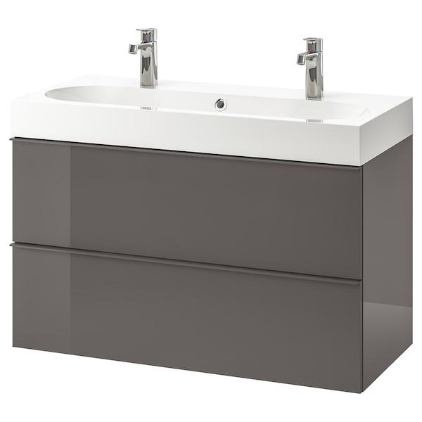 Godmorgon Bråviken Sink Cabinet With 2 Drawers High Gloss Gray Brogrund Faucet 39 3 8x18 7 8x26 3 4 Ikea