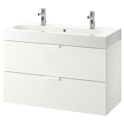 GODMORGON / BRÅVIKEN Sink cabinet with 2 drawers, white/Brogrund faucet, 39 3/8x18 7/8x26 3/4 ""