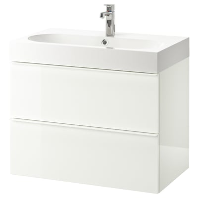 "GODMORGON / BRÅVIKEN sink cabinet with 2 drawers high gloss white/Brogrund faucet 31 1/2 "" 31 1/2 "" 18 7/8 "" 26 3/4 """