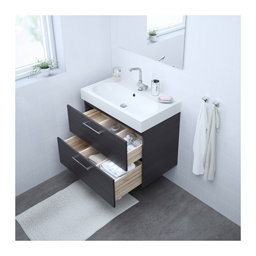 Godmorgon Braviken Sink Cabinet With  Drawers High Gloss Gray Xx Ikea