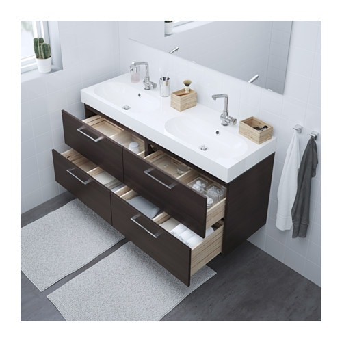 GODMORGON / BRÅVIKEN Sink cabinet with 4 drawers - black-brown, 55 ...