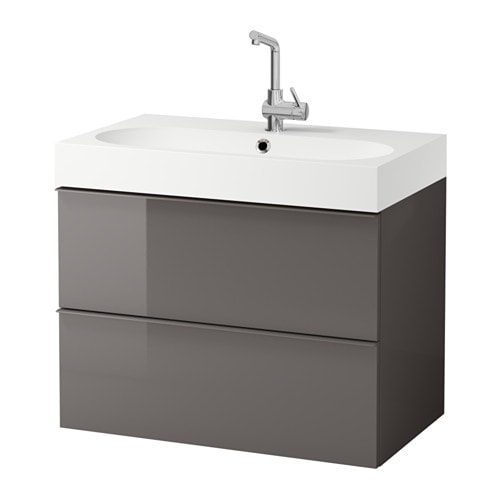 GODMORGON BRVIKEN Sink cabinet with 2 drawers high gloss gray