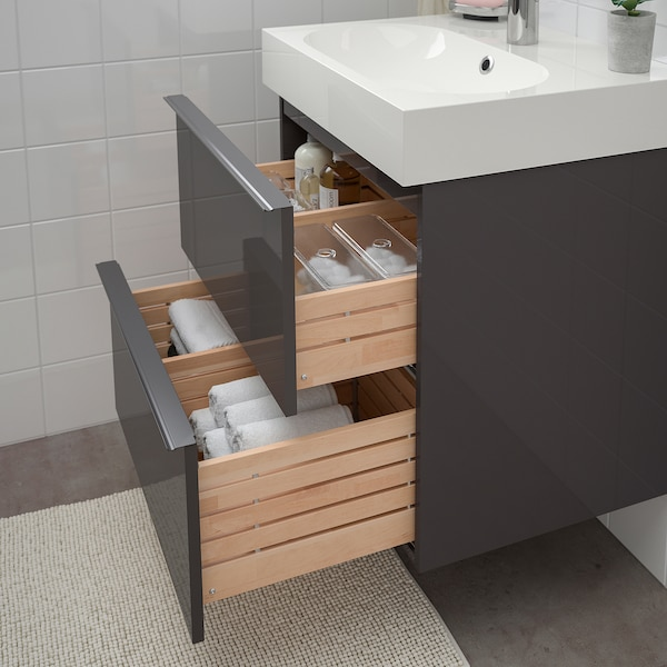 "GODMORGON / BRÅVIKEN sink cabinet with 2 drawers high gloss gray/Brogrund faucet 24 "" 23 5/8 "" 19 1/4 "" 26 3/4 """