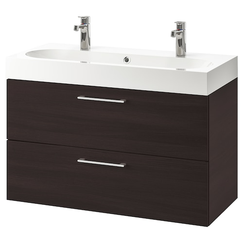 "GODMORGON / BRÅVIKEN sink cabinet with 2 drawers black-brown/Brogrund faucet 39 3/8 "" 39 3/8 "" 18 7/8 "" 26 3/4 """