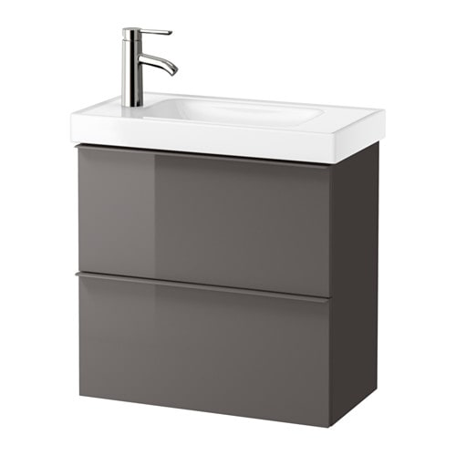 GODMORGON  HAGAVIKEN Sink cabinet with 2 drawers  high gloss gray  IKEA # Wasbak Lamp_182834