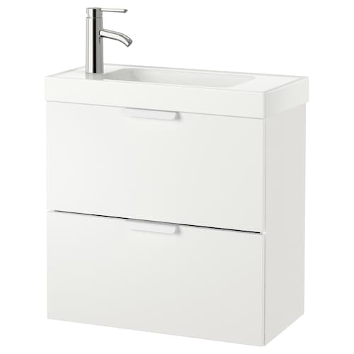 "GODMORGON / HAGAVIKEN sink cabinet with 2 drawers white/Dalskär faucet 24 3/4 "" 23 5/8 "" 13 3/8 "" 25 5/8 """
