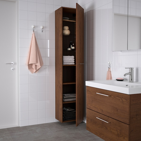 """GODMORGON high cabinet brown stained ash effect 15 3/4 """" 12 5/8 """" 75 5/8 """""""