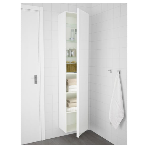 "GODMORGON High cabinet, high gloss white, 15 3/4x12 5/8x75 5/8 """