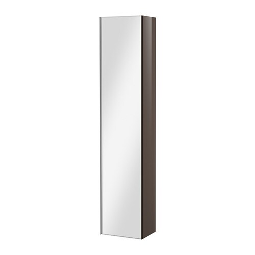 godmorgon high cabinet with mirror door high gloss gray