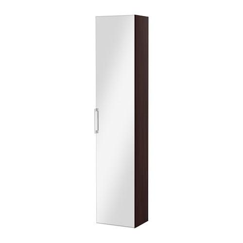 GODMORGON High cabinet with mirror door, black-brown black-brown 15 3/4x12 5/8x75 5/8