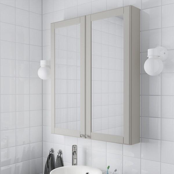 """GODMORGON mirror cabinet with 2 doors Kasjön light gray 31 1/2 """" 5 1/2 """" 37 3/4 """""""