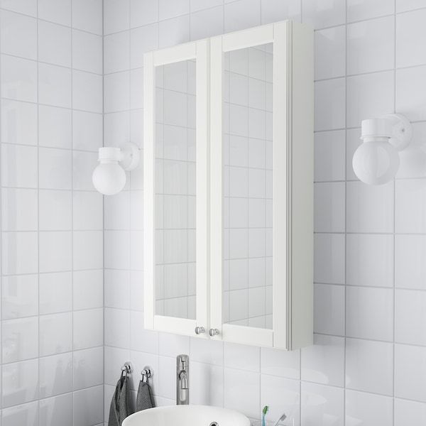 "GODMORGON mirror cabinet with 2 doors Kasjön white 23 5/8 "" 5 1/2 "" 37 3/4 """