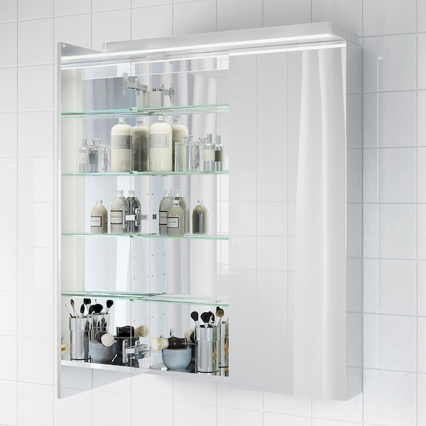 "GODMORGON Mirror cabinet with 2 doors, 27 1/2x5 1/2x37 3/4 """