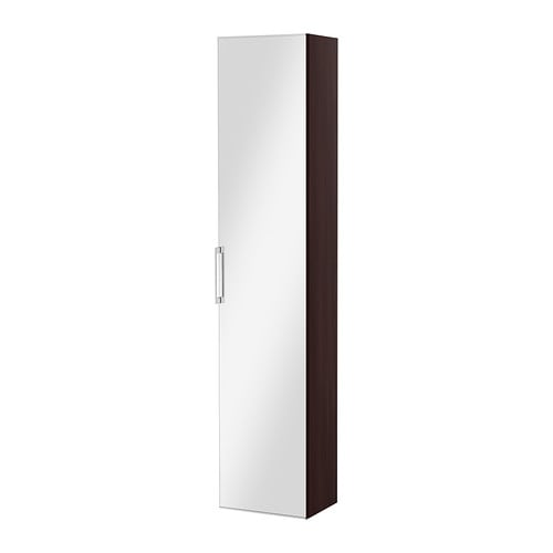Godmorgon high cabinet with mirror door black brown ikea - Armoire porte coulissante miroir ikea ...