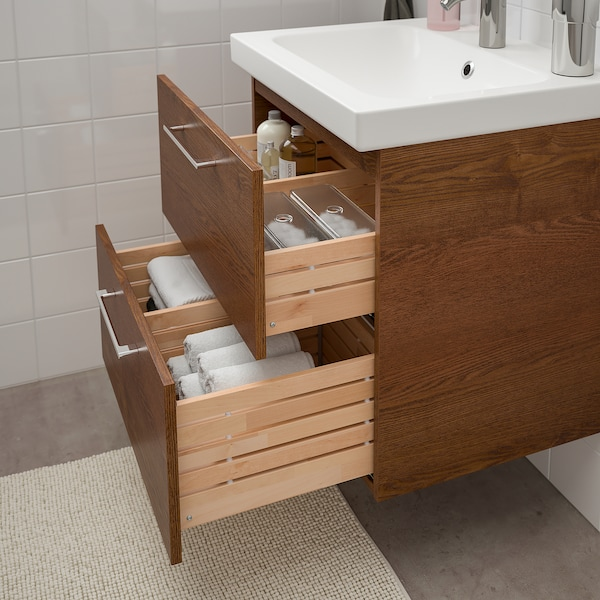 """GODMORGON / ODENSVIK Sink cabinet with 2 drawers, brown stained ash effect/Dalskär faucet, 24 3/4x19 1/4x25 1/4 """""""