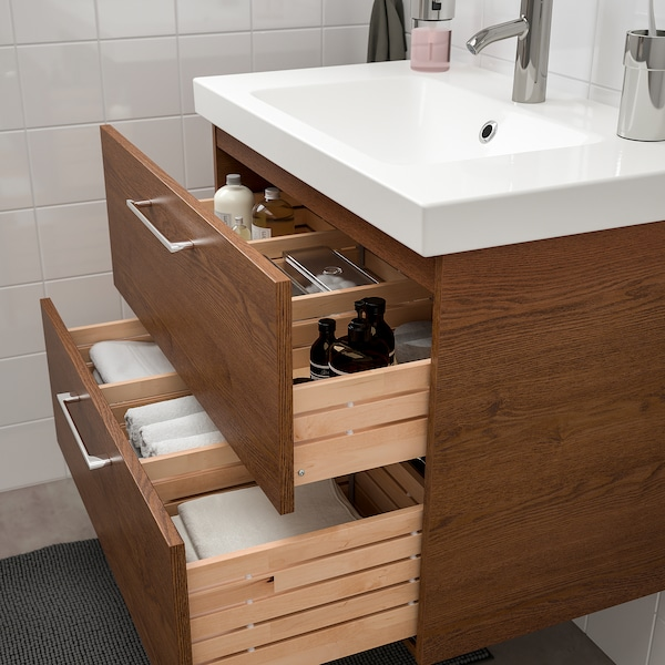 Godmorgon Odensvik Sink Cabinet With 2 Drawers Brown Stained Ash Effect Dalskär Faucet 32 5 8x19 1 4x25 1 4 Ikea