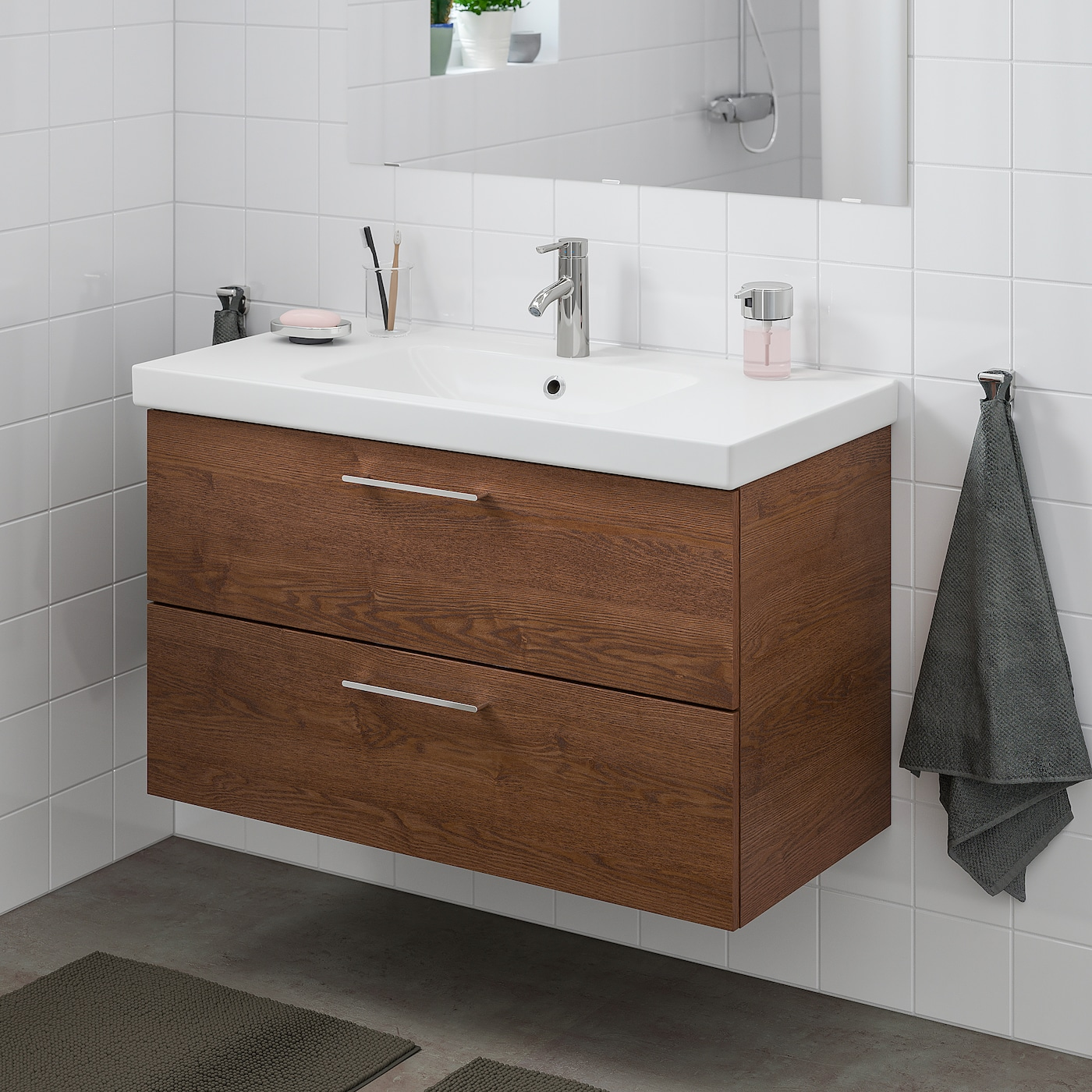 Godmorgon Odensvik Sink Cabinet With 2 Drawers Brown Stained Ash Effect Dalskar Faucet Ikea