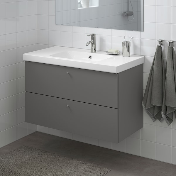 "GODMORGON / ODENSVIK Sink cabinet with 2 drawers, Gillburen dark gray/Dalskär faucet, 40 1/2x19 1/4x25 1/4 """